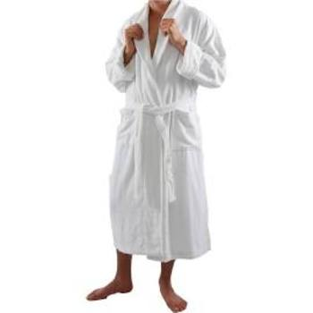 White Terry Velour Shawl Collar Bath Robes 100% Cotton - Large