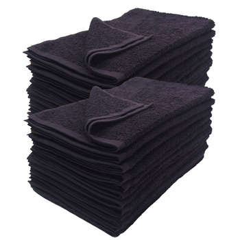 16x27 Black Hand Towel Premium Plus 3 Lb 100% Cotton