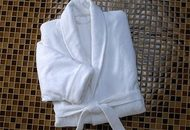 Luxury Spa Bath Robe Velour White 100% Cotton