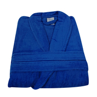 ROYAL BLUE Terry Velour Shawl Collar Bath Robes 100% Cotton